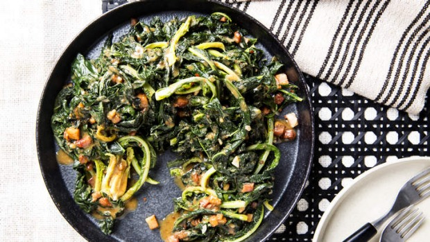 Cavolo nero with speck, miso and garlic - or substitute silverbeet or kale.
