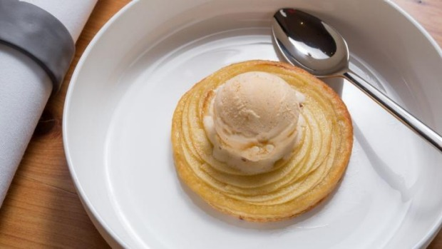 Apple tart and vanilla bean ice-cream.
