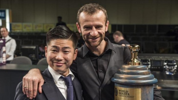 Canberra barista Sasa Sastic with Hidenori Maruyama, the previous world barista champion and Sasa's coach for the ...
