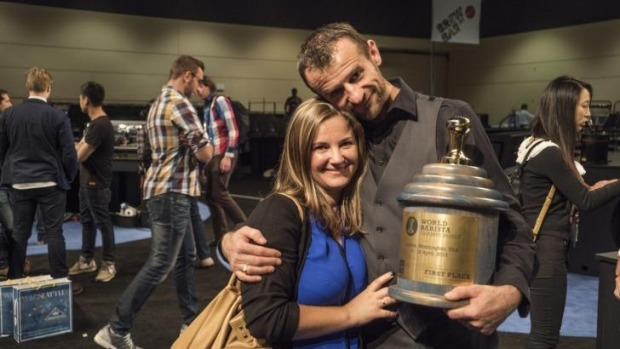 Canberra barista Sasa Sastic with wife Betty and the World Barista championship title.