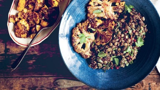 Sarah Britton's roasted cauliflower with Lebanese lentils and kaniwa (or quinoa) - recipe below.