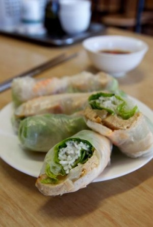 The Mock Pork And Prawn Rice Paper Rolls At Duy Linh Cabramatta