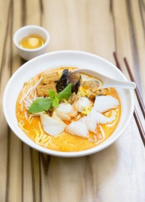 Seafood laksa, the signature dish at Flemington's Laksa King.