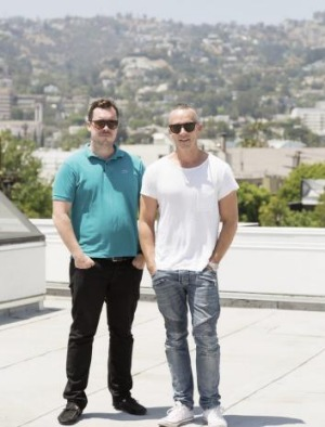 Grant Smilie and his business partner David Combes in Los Angeles.
