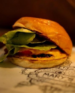 Mary's signature burger is a classic combo of beef, lettuce, tomato and cheese.