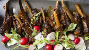 Lamb ribs with miso, treacle and dark ale.