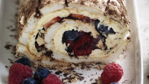 Neil Perry's blueberry, raspberry and strawberry roulade cake.