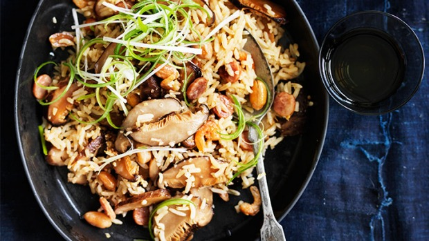 Supercharged flavour: Claypot rice with Chinese sausage, peanuts and shiitake.