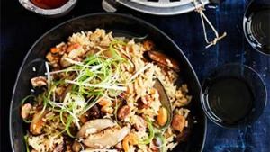 Claypot rice with Chinese sausage, peanuts and shiitake.