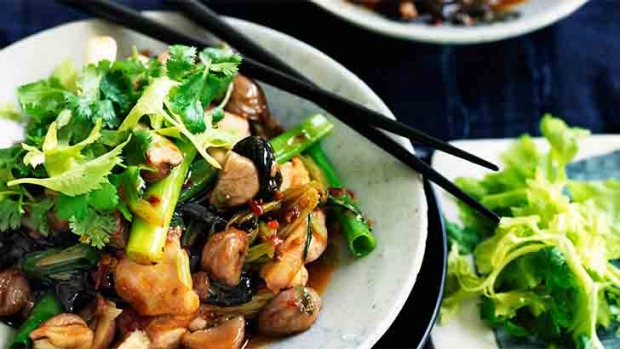 Neil Perry's Chilli chicken with chestnuts, black funghi and celery.