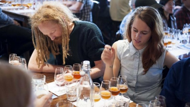 Take note: Beer tasting at the festival.