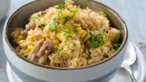Adam Liaw's chicken and corn fried rice.