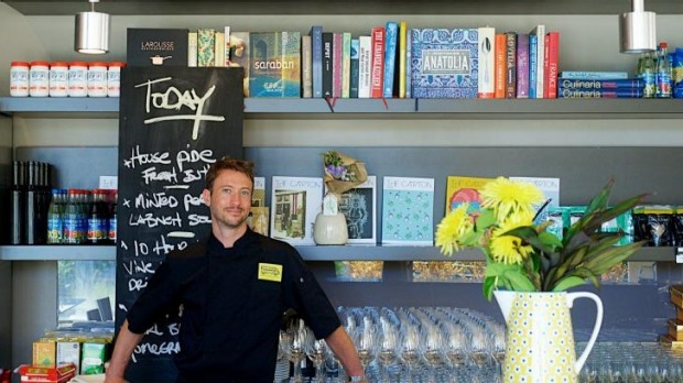 Sydney chef Travis Harvey in his pop-up cafe, harvested.