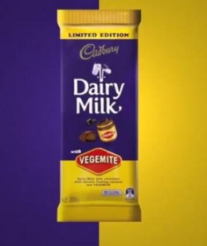 A screenshot from the video Cadbury used to launch its new Vegemite chocolate on social media on Thursday.