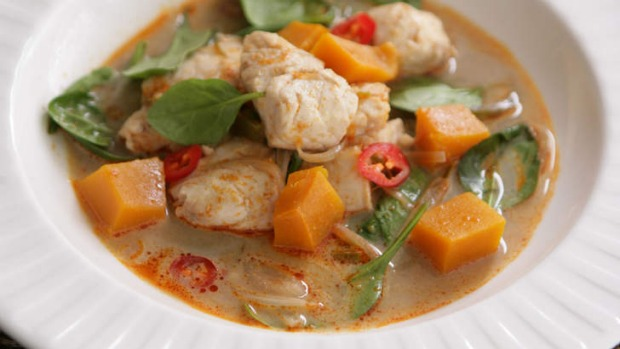 Hit the spot: Thai fish and pumpkin curry.