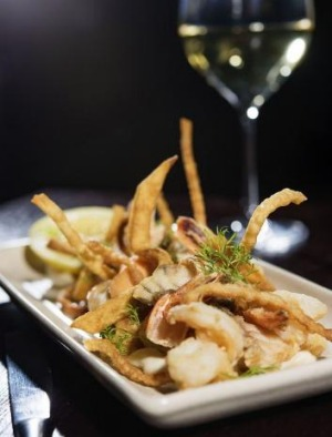 Fritto misto of squid, prawn, barramundi and salmon.