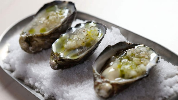 Oysters served in a half shell.