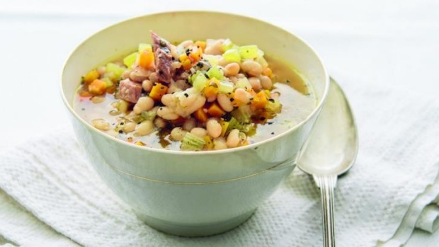 Weeknight navy bean and ham soup.