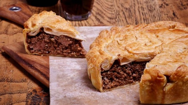 Coopers Handmade Pies: Wagyu beef pie and beer.