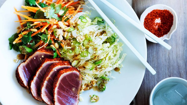 Seared tuna salad with sesame dressing.