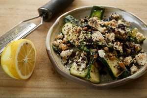 Serve at room temperature: zucchini, pine nut and currant salad.