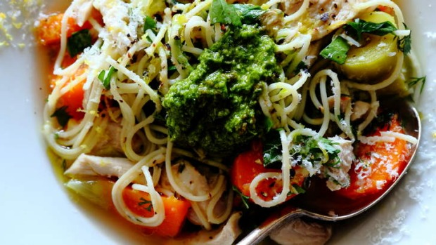Serve with pesto: Italian chicken noodle soup.