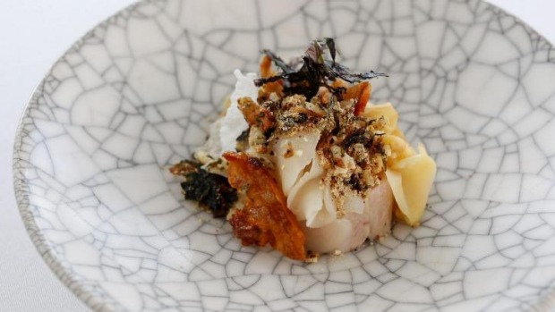 Quay's Peter Gilmore's dish of smoked and confit pig jowl with roasted kogi and shiitake, kombu, sea scallop and sesame.