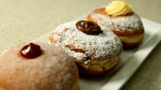 The jam, the Nutella and the custard doughnuts at Jimmy's Place, Fawkner.