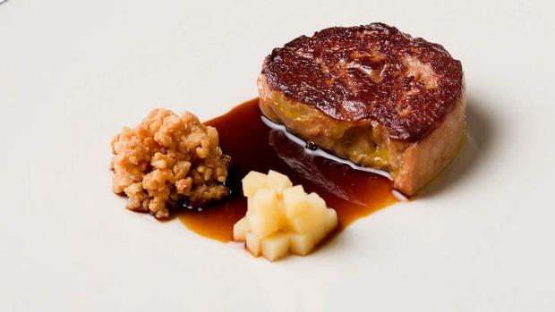 Rich: A pan-fried slab of foie gras served with macadamia puree and pickled quince.