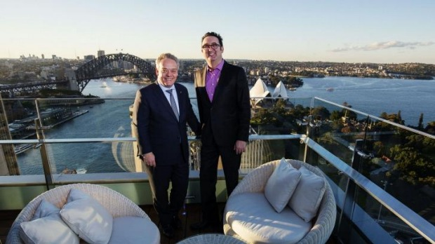 A view too good to be hidden: Martin O'Sullivan and Intercontinental Sydney general manger Jorg T. Bockeler on the rooftop.