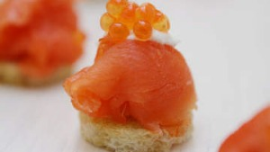 Simple smoked salmon canapes.