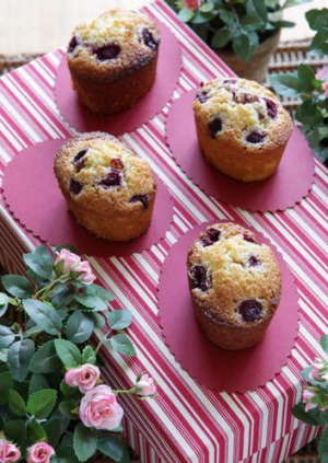 Raspberry and lemon friands.