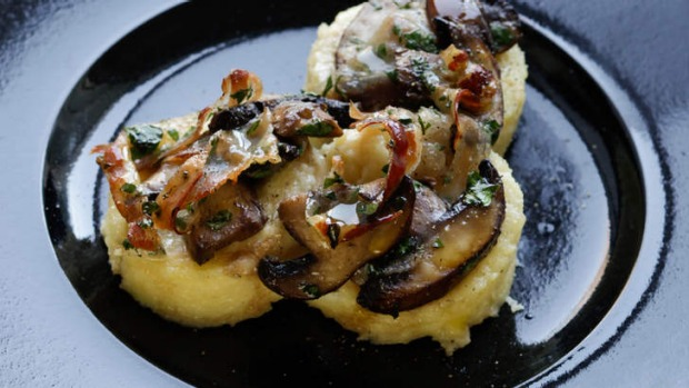 Roman gnocchi with mushrooms, pancetta and cheese.