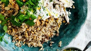 Fragrant poached chicken with rice.