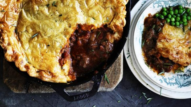 Easy as pie: Lamb, red wine and rosemary pot pie.
