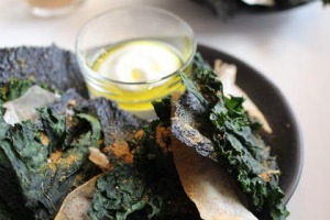 Kale, kelp and taro chips with goat's curd and olive-oil dip at the Roving Marrow.