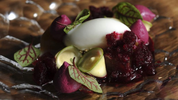 Granny smith apple, fromage blanc, almond, raspberry and beetroot.
