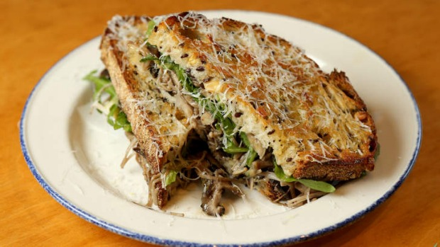 The Grizz toastie with mushrooms, brie, rocket and pecorino.
