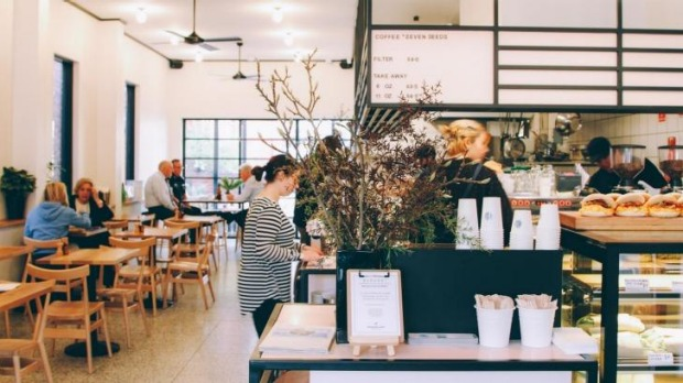 Clean lines: Inside Square & Compass cafe.