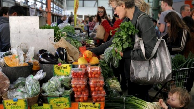 Paddock-to-plate: A vegetable stall at the Eveleigh Farmers' Market.