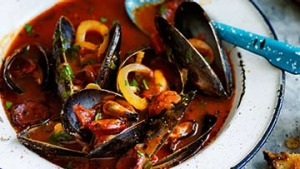 Steamed mussels with fennel, garlic and chorizo.