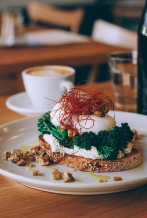 Creative: Poached eggs with broccolini and chilli 'hair' at Square & Compass.