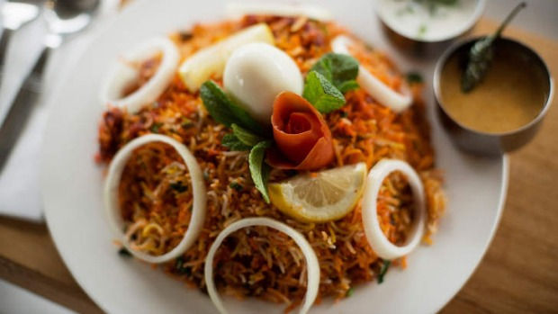 The chicken 65 biryani is a specialty.