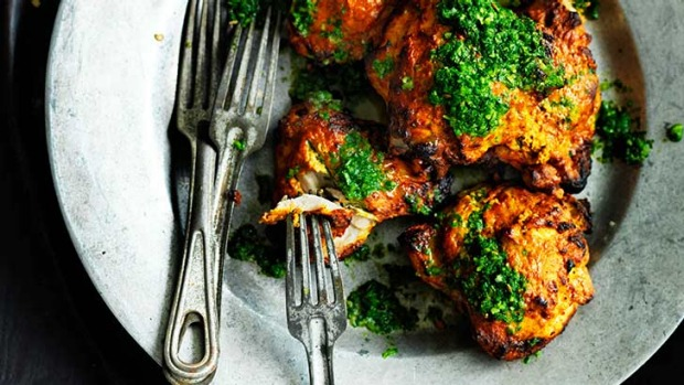 Tandoori chicken with mint and coriander - marinate overnight for best flavour.