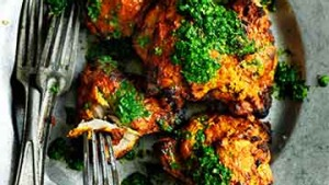Tandoori chicken with mint and coriander relish.