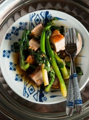 Pork stir-fried with Chinese broccoli.