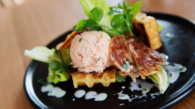 Salmon rillettes served on a celeriac waffle.