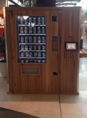 The vending machine is made from up-cycled timber, no less.