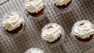 Lamington cupcakes with quince paste.