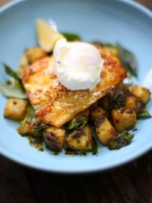 Haddock, spicy potatoes and poached egg at Gun Shop cafe, West End.